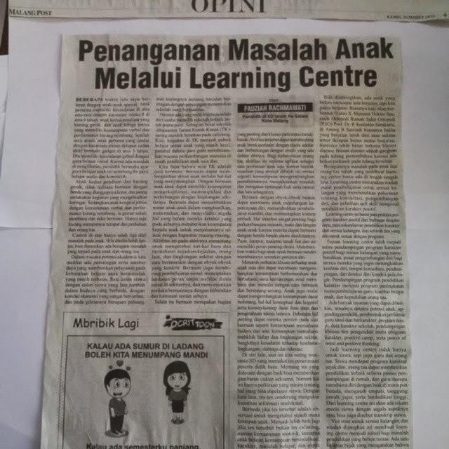 Penanganan Masalah Anak Melalui Learning Centre