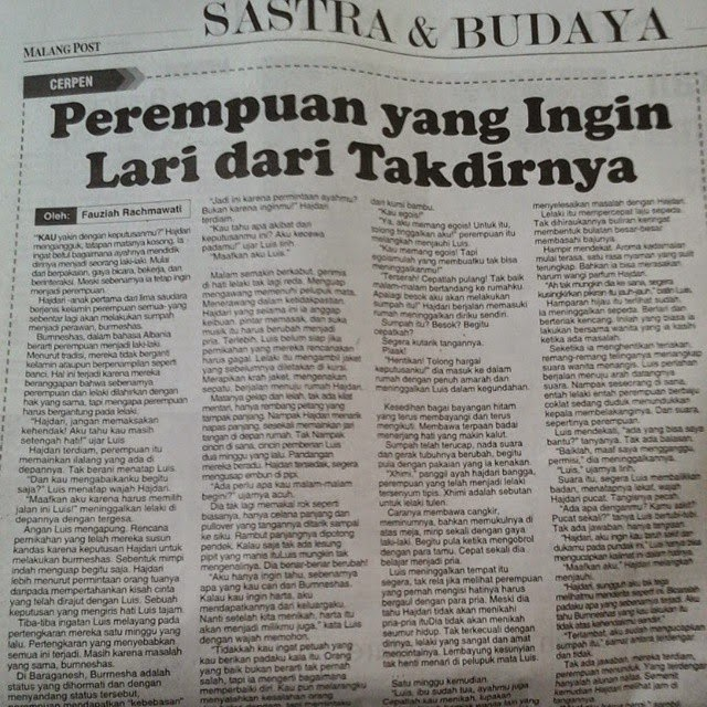 Perempuan yang Ingin Lari dari Takdirnya (Malang Pos 5 April 2015)