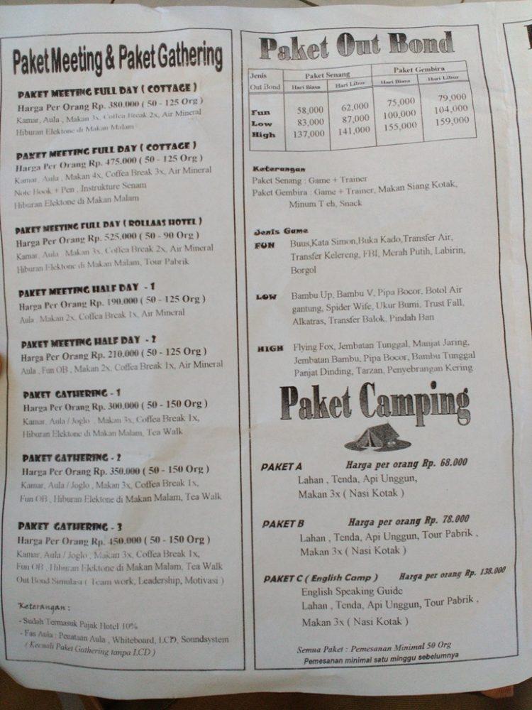 Daftar Harga Paket Kebun Teh Lawang