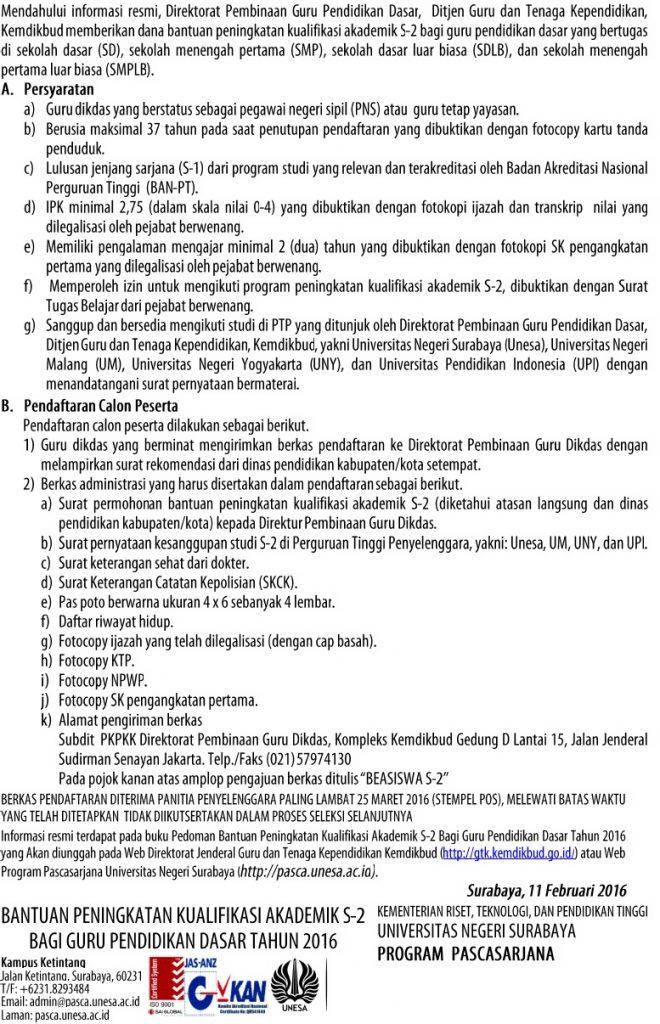 BANTUAN PENINGKATAN KUALIFIKASI AKADEMIK S-2 BAGI GURU PENDIDIKAN DASAR TAHUN 2016